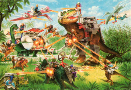 Dinosaurs with sci fi armor and weapons...